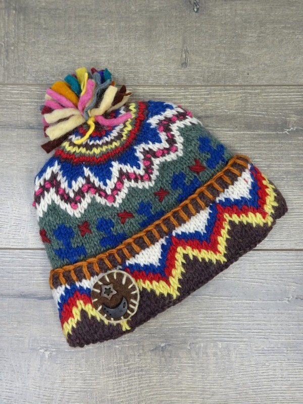 Multi Knit Hat with Stitching by Gringo