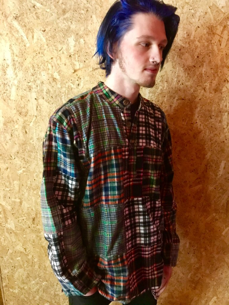 Brushed Cotton Patchwork Grandad Shirt by Gringo