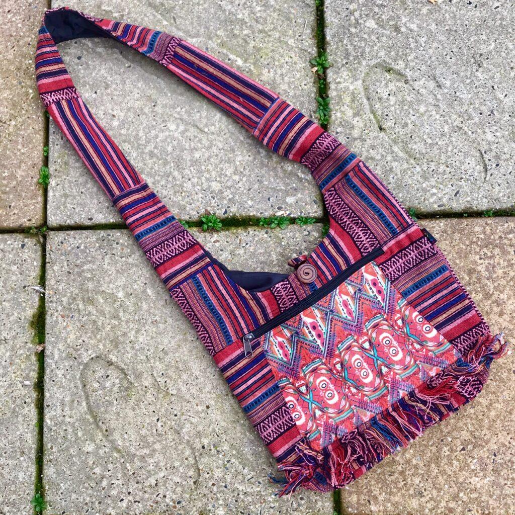 Red Gheri Cotton Shoulder Bag With Fringes 37x36cms