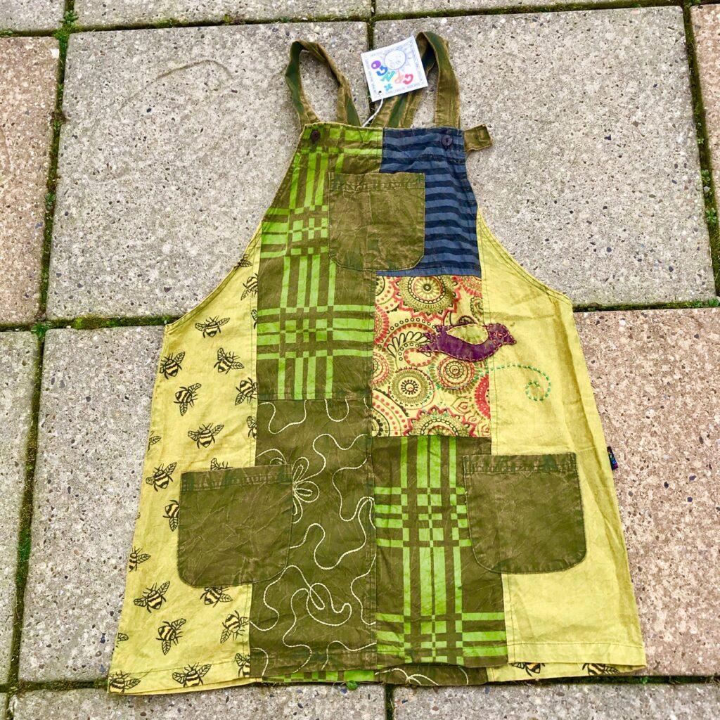 Cotton Short Patchwork  Dungaree Dress by Gringo