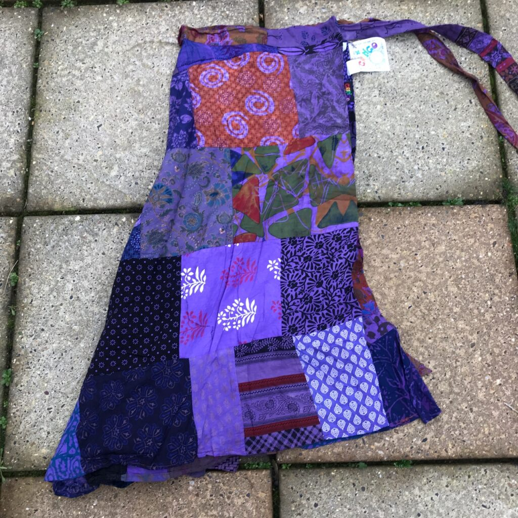 Cotton Patchwork Mid Length Wrap Skirt by Gringo