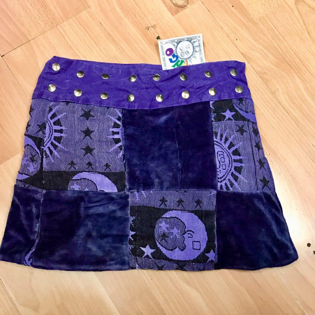 Cotton-Velvet Patchwork Short Wrap Skirt by Gringo
