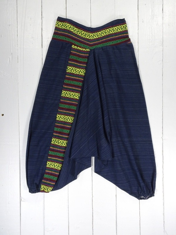 Woven Cotton Embroidered Detail Trim Harem Pants