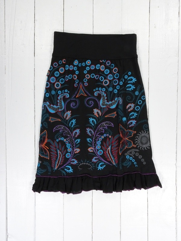 Cotton Mid Length Skirt Screen Print Detail by Gringo