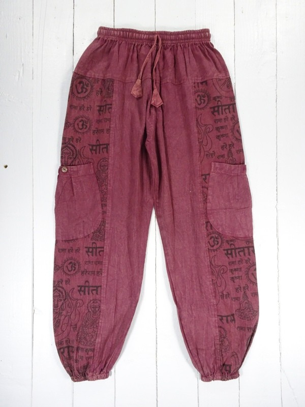 Cotton Aladdin Pants With Screen Print Detail by Gringo
