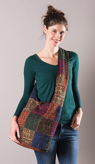 Cotton Thai Print Patchwork Shoulder Bag by Namaste