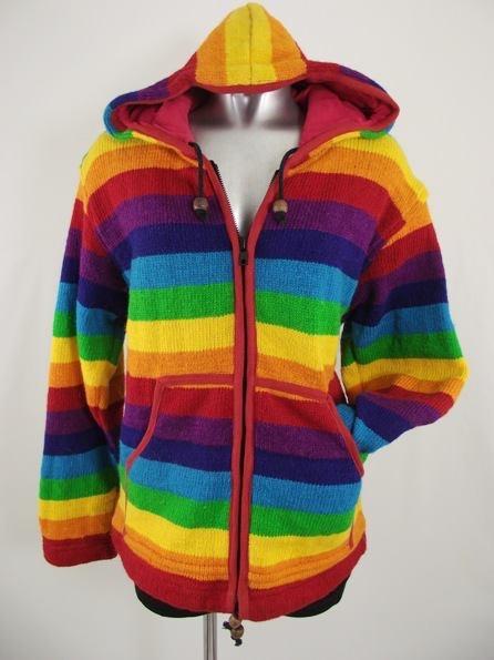 100% Wool Fleece Lined Rainbow Stripe Hooded Jacket