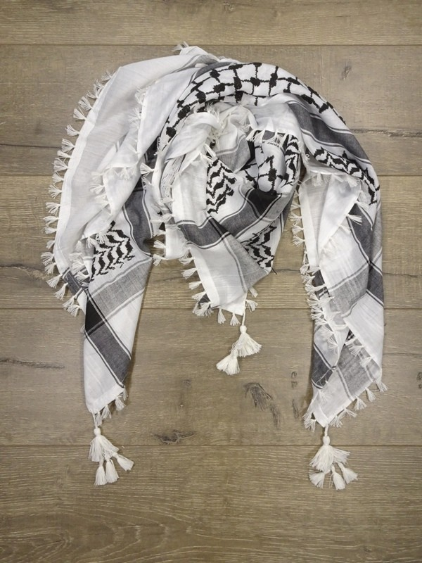Large Cotton Afghani Scarf Black-White