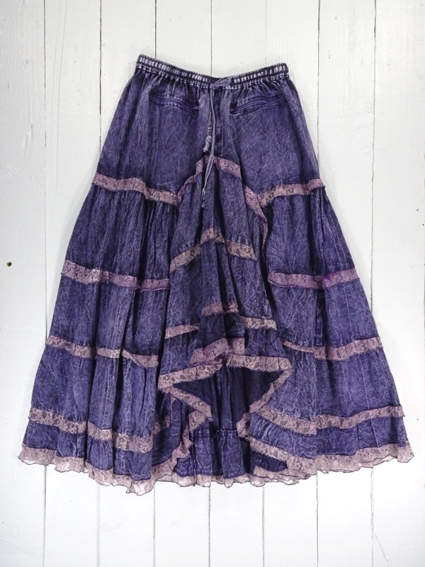 Long Cotton Skirt With Lace Trim by Gringo