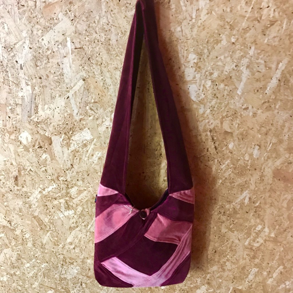 Cotton Velvet Patchwork Shoulder Bag