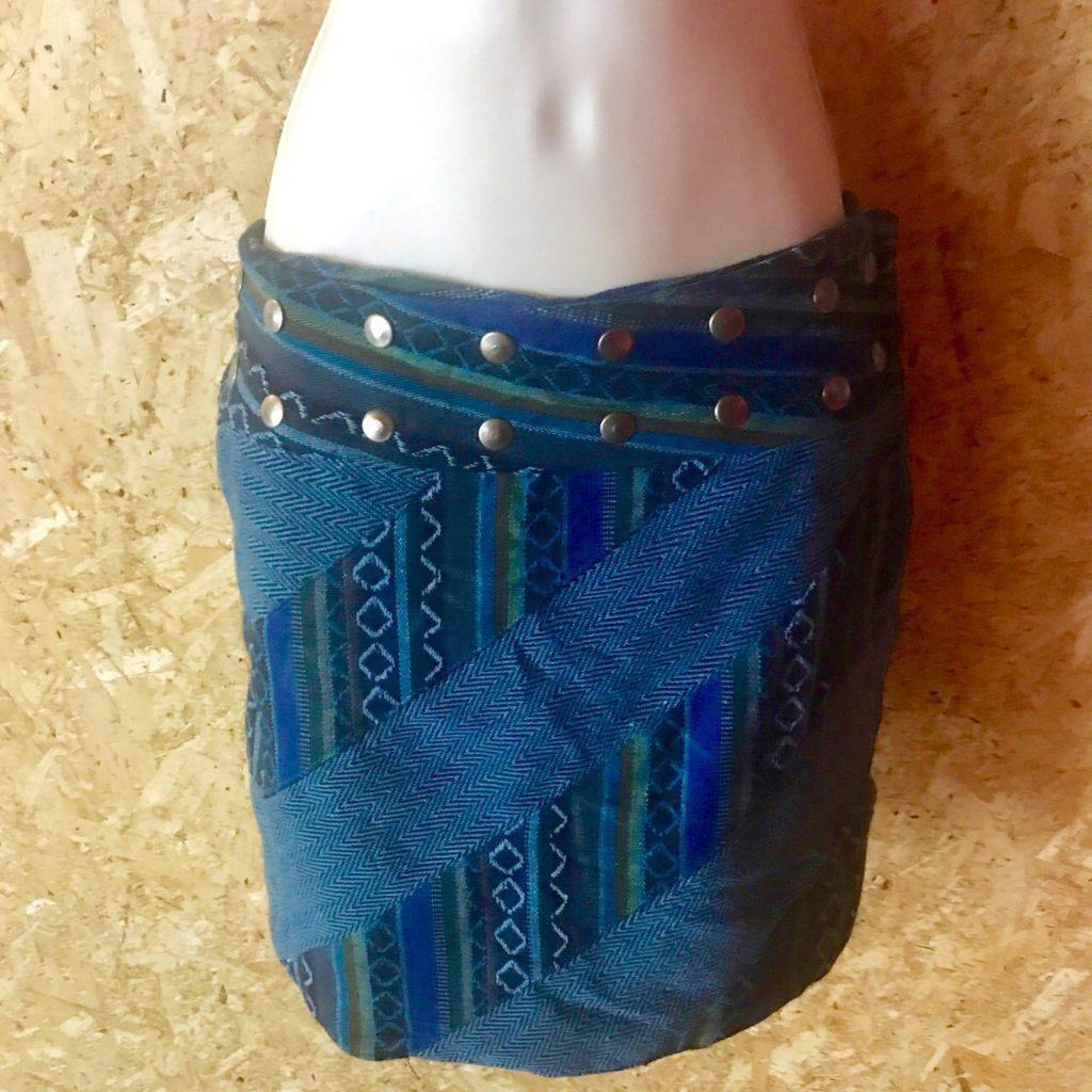 Cotton Patchwork Short Popper Skirt by Gringo