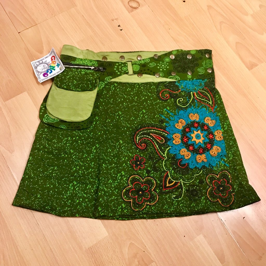 Embroidered Detail Wrap Skirt with Pocket by Gringo