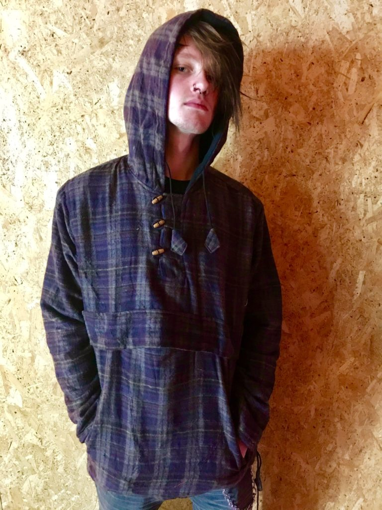 Fleece Lined Checkered Kangaroo Pocket Jacket