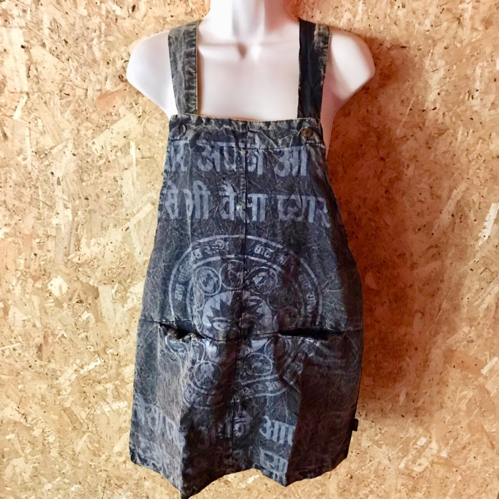 Cotton Short Dungaree Dress Screen Print by Gringo