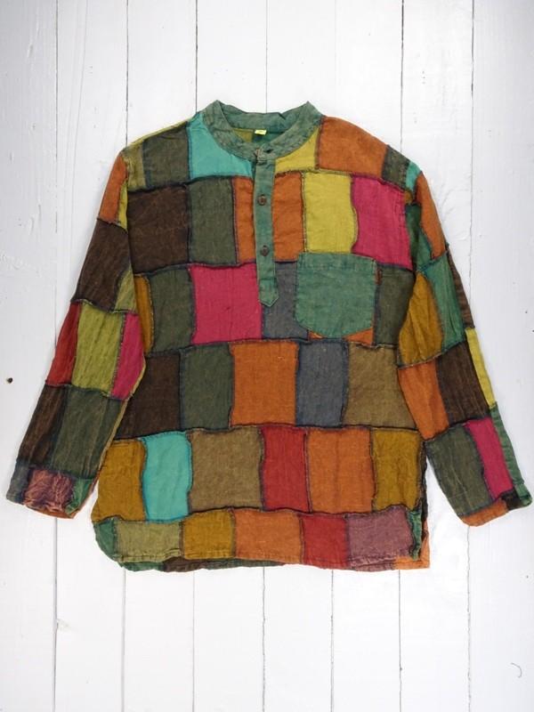 Patchwork grandad shirt