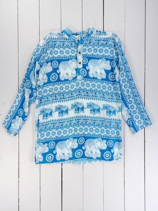 Elephant Print Grandad Shirt