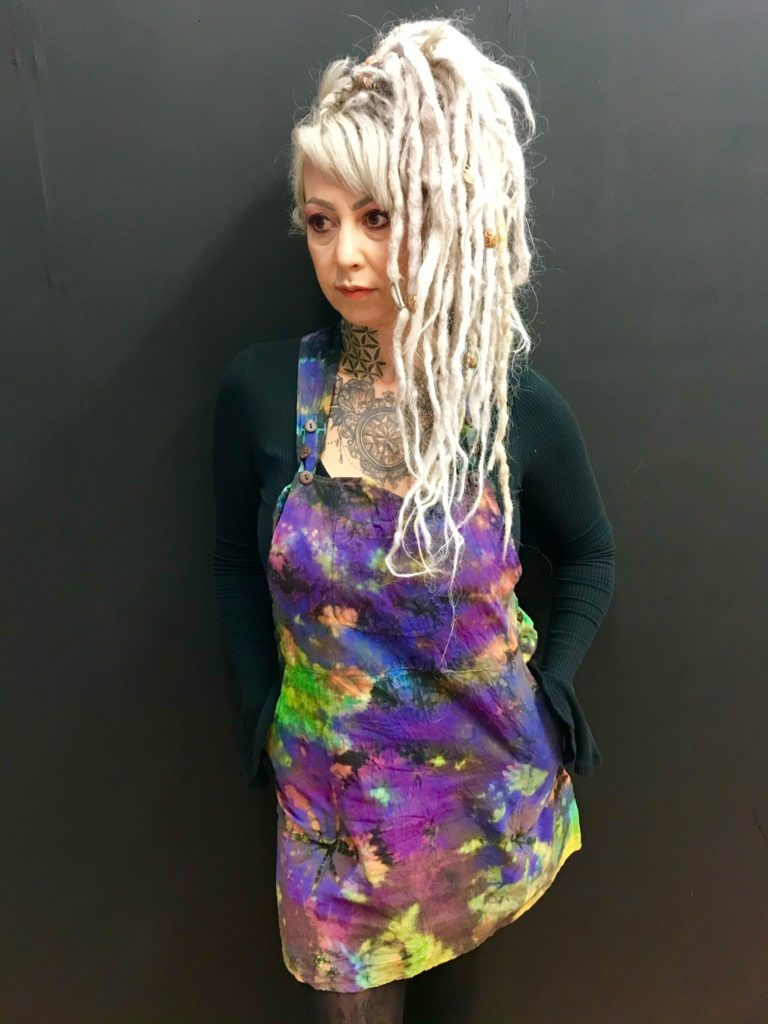 Purple Tie Dye Short Dungaree Dress by Gringo