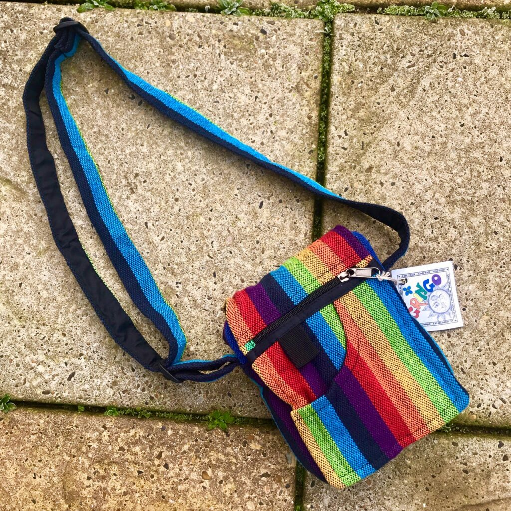 Gheri Cotton Rainbow Stripe Small Bag by Gringo