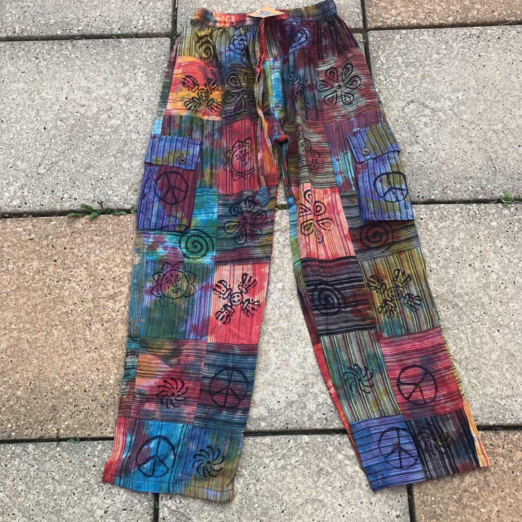 Cotton Patchwork Tie Dye Pants