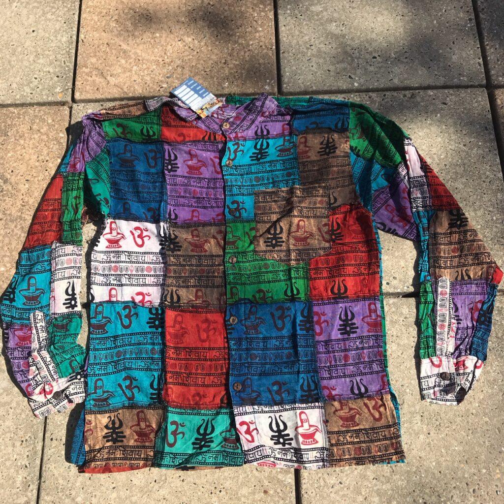 Nepalese Patchwork Full Button Grandad Shirt