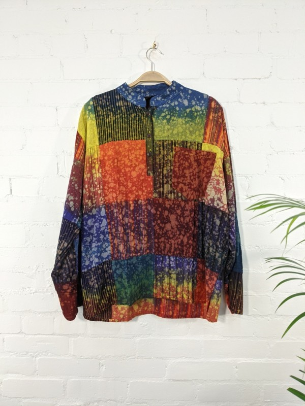 Cotton Patchwork Rainbow-Tie Dye 3 Button Shirt by Gringo