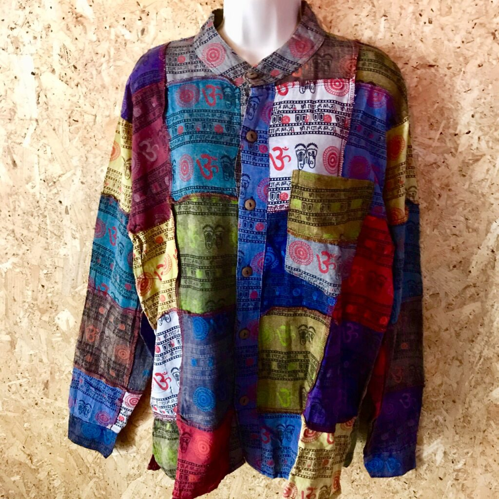 Nepalese Patchwork Full Button Grandad Shirt