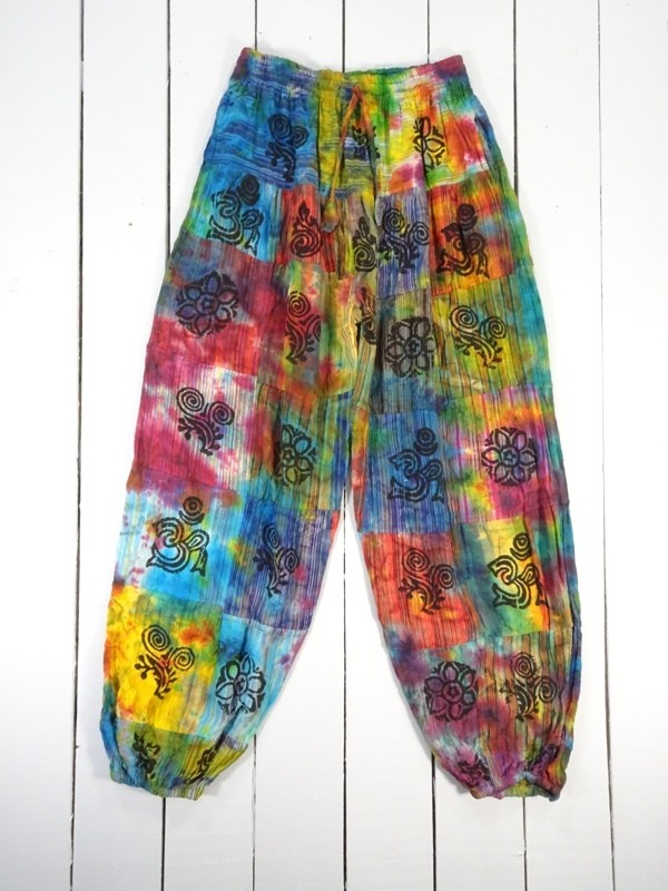 Tie Dye Patchwork Aladdin Style Pants by Gringo