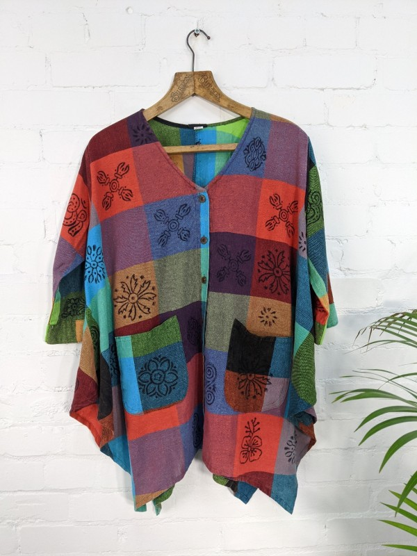Cotton Patchwork Print Tunic Top by Gringo