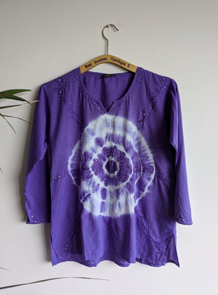 Cotton 3/4 Sleeve Tie Dye Detail Top by Gringo