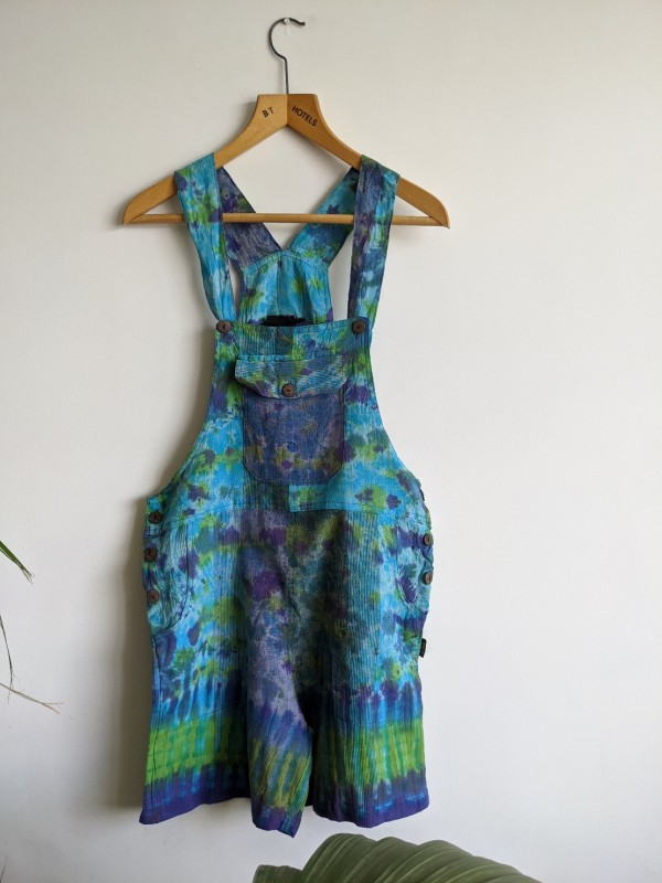 Cotton Patchwork Tie Dye Dungaree Shorts by Gringo