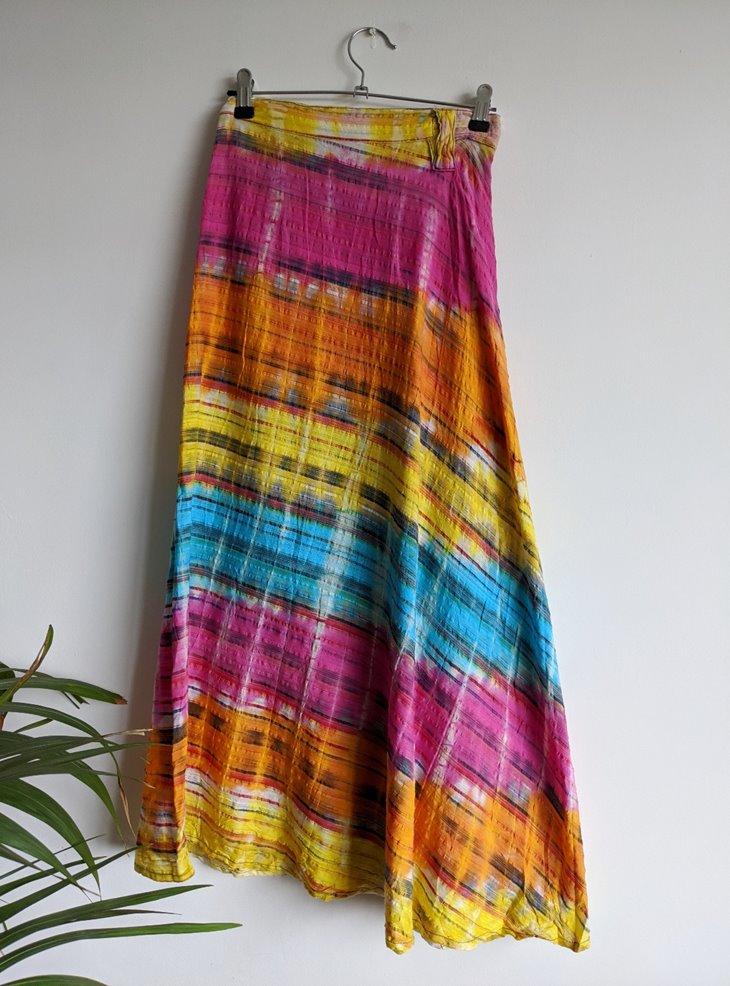 Rainbow Tie Dye Long Wrap Skirt by Gringo