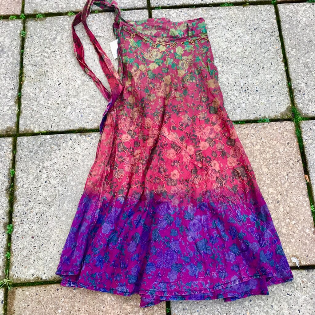 Dip Dye Embroidered Detail Long Wrap Skirt by Gringo
