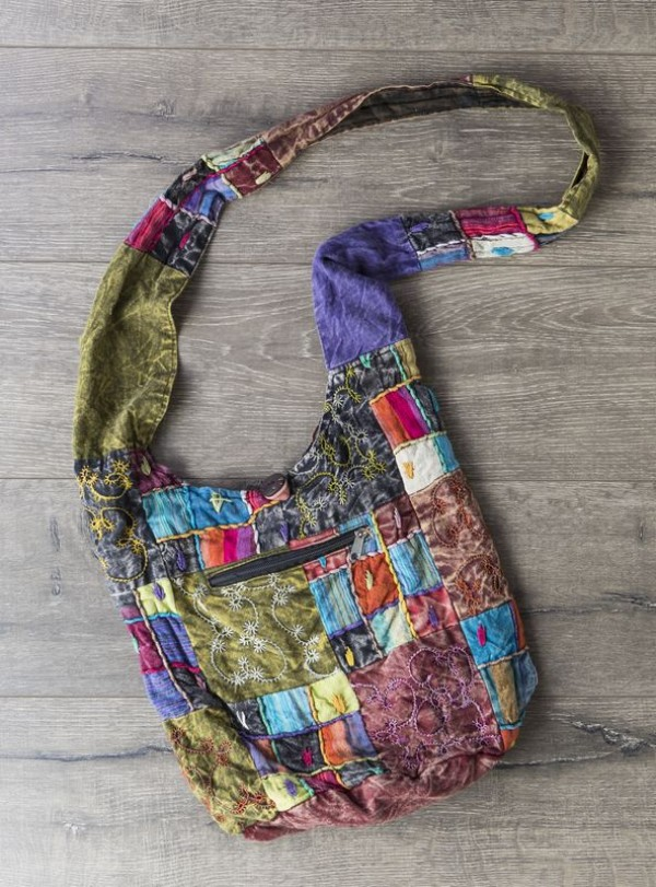 Patchwork Embroidered Detail Shoulder Bag by Gringo