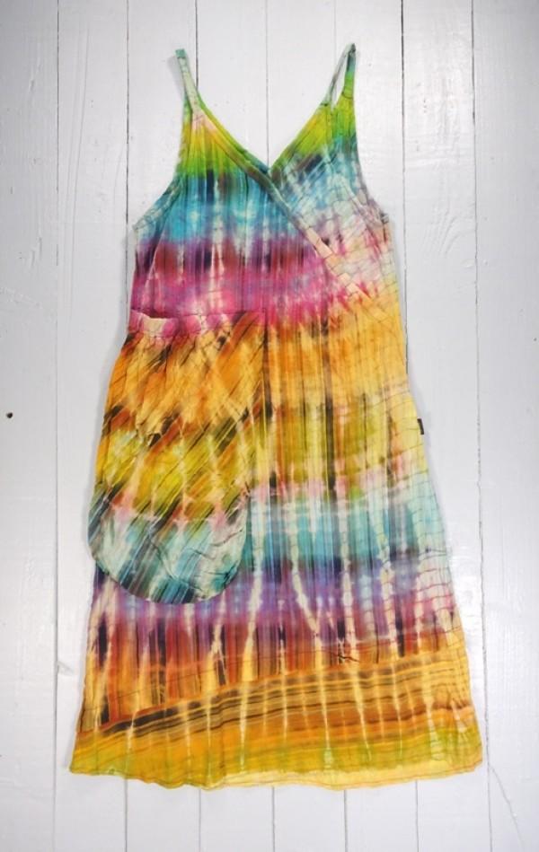 Rainbow Tie Dye Strappy Long Dress by Gringo