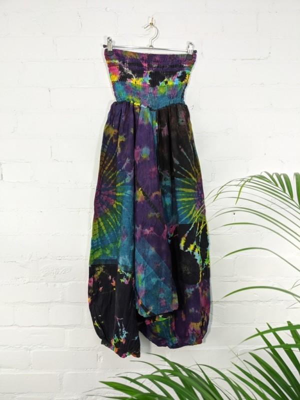 Cotton Wide Elastic Tie Dye Harem-Jumpsuit by Gringo