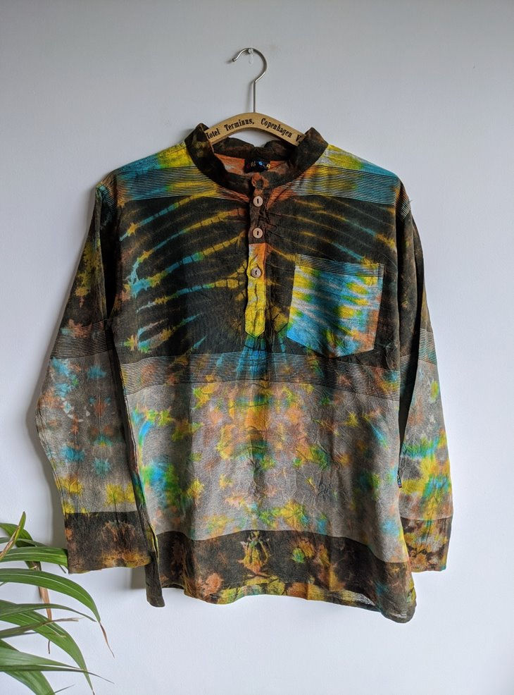 Tie Dye Brown Multi Grandad Shirt by Gringo