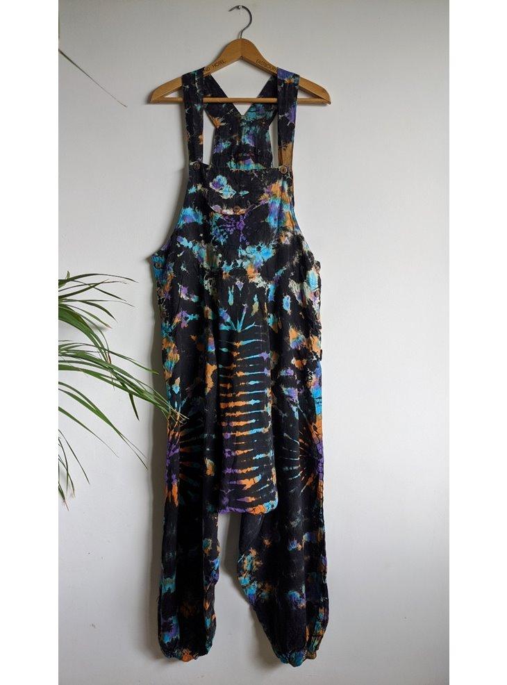 Black-Multi Tie Dye Harem Dungarees by Gringo