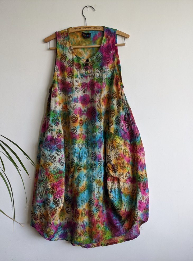 Rainbow Tie Dye Balloon Dress by Gringo