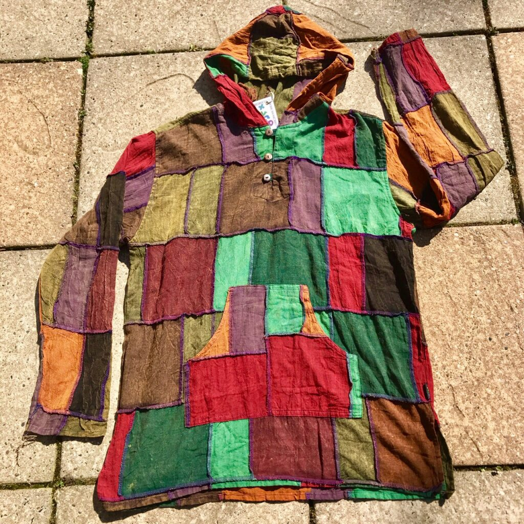 Cotton Dark Patchwork Hooded Top by Gringo