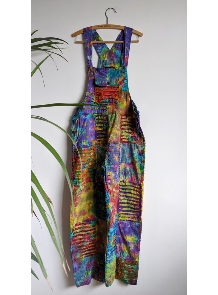 Cotton Tie Dye Patchwork Straight Leg Dungarees
