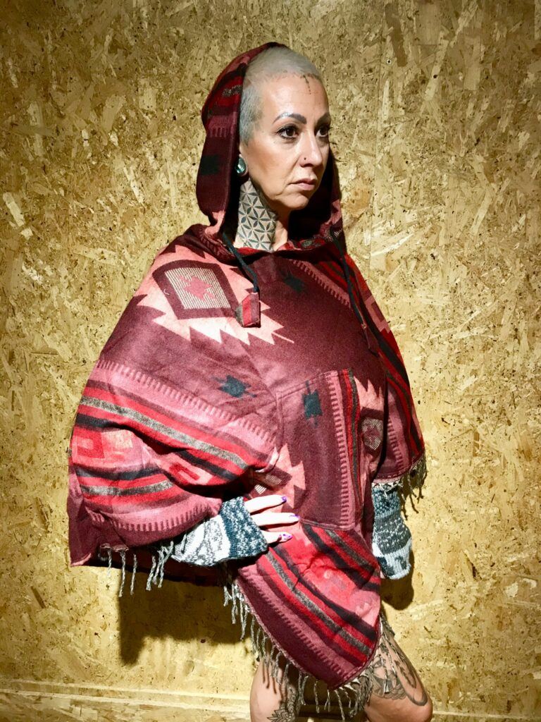 Assorted Aztec V Shaped Hooded Poncho