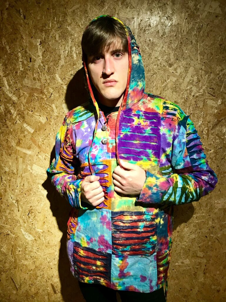 Cotton Tie Dye Patchwork Hoody With Slashed Detail