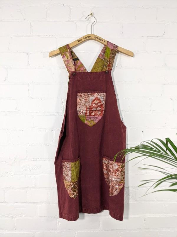 Patchwork Detail Short Dungaree Dress by Gringo