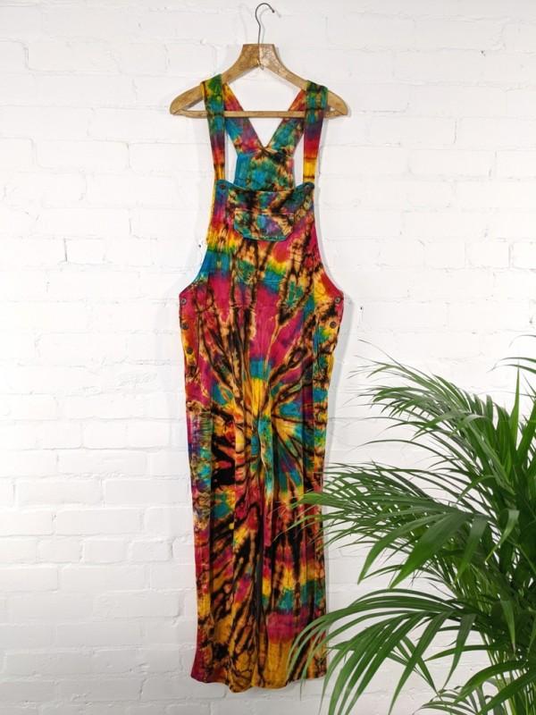 100% Cotton Velvet Tie Dye Dungarees by Gringo