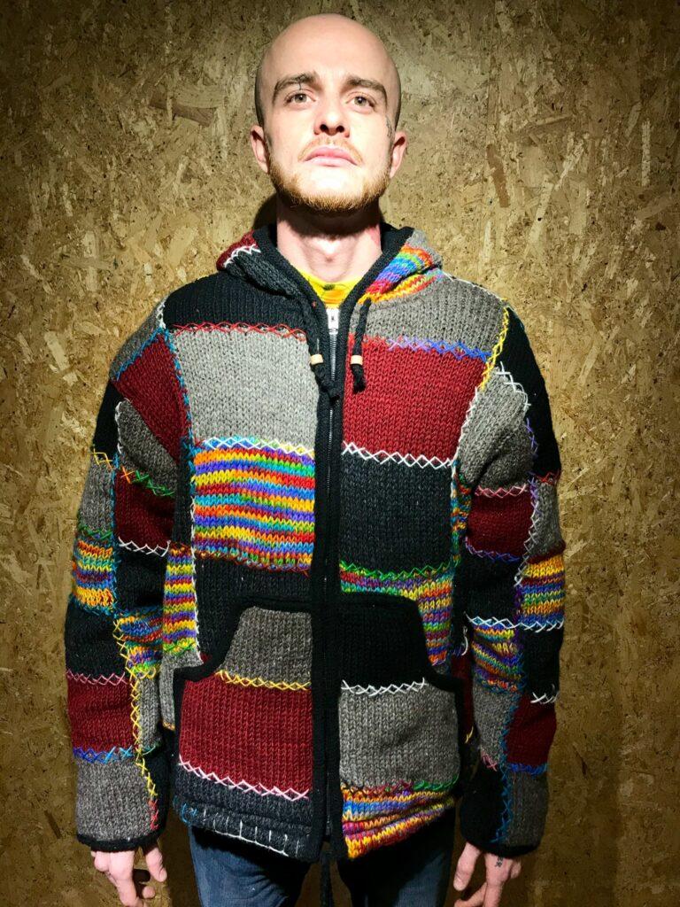 100% Wool Fleece Lined Patchwork Hooded Jacket