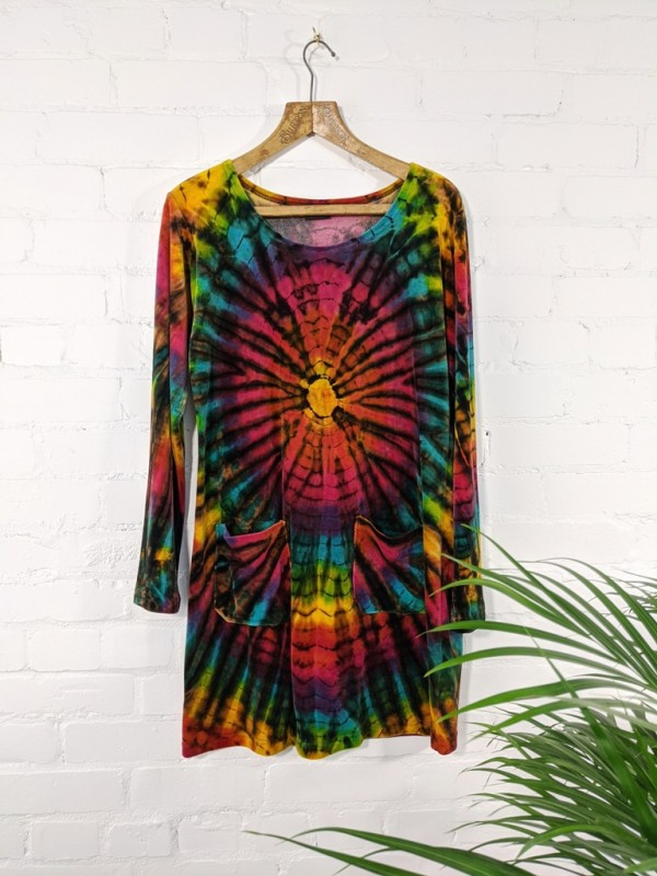 100% Cotton Velvet Rainbow Tie Dye Tunic-Dress by Gringo