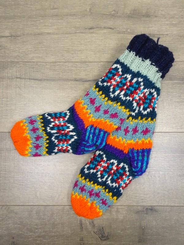 100% Wool Assorted Multi Knit Long Socks