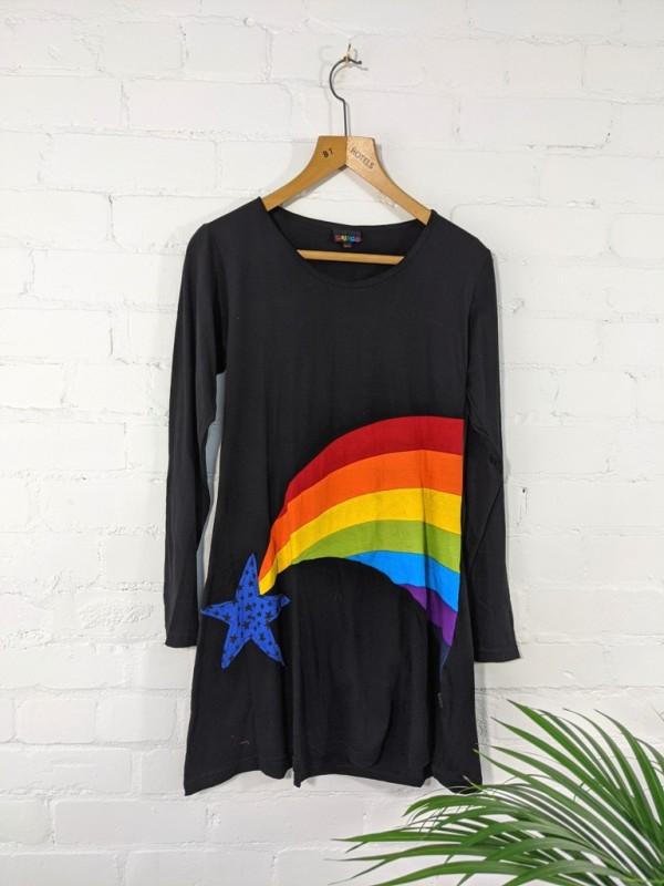 Cotton Rib Black-Rainbow Long Sleeve Dress by Gringo