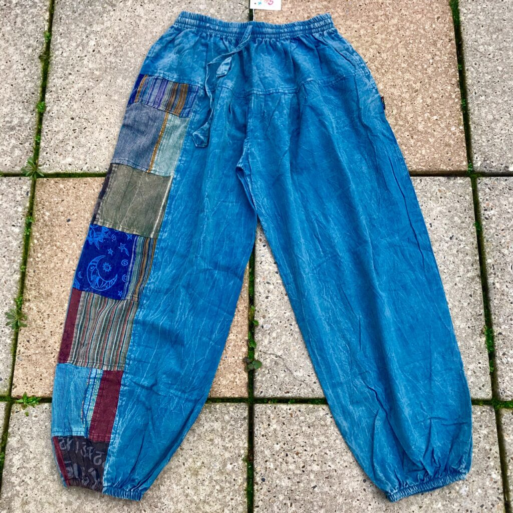Cotton Patchwork Panel Aladdin Style Pants by Gringo