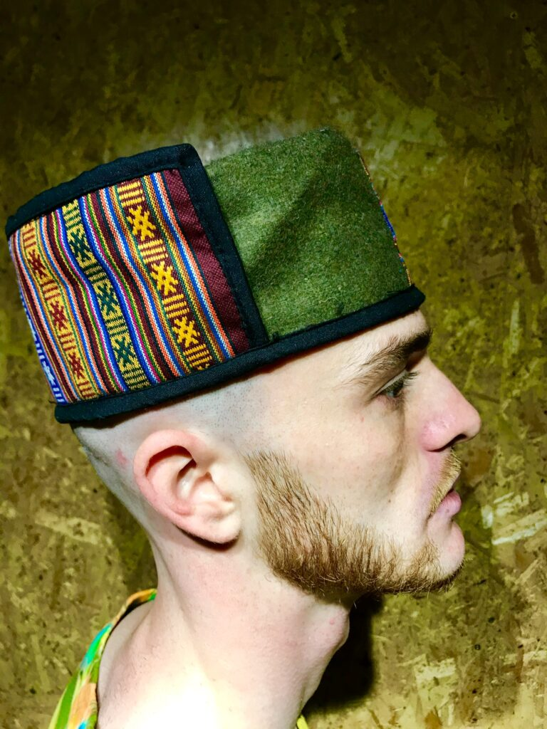 Nepalese Hat With Gheri Stripe Detail